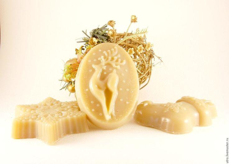Купить Молочно-глицериновое мыло Новогоднее - бежевый, молочное мыло, мыло натуральное