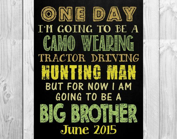 Chalkboard Pregnancy Announcement For Big Brother or Big Sister // Country, Tractor, Hunting Themed // (14x11): **Digital File**by MMasonDesigns