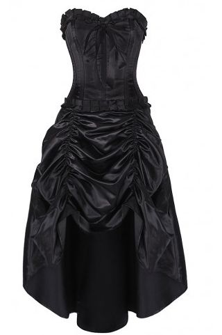 Treffen Gothic Corset Dress Authentic Steel Boned Black