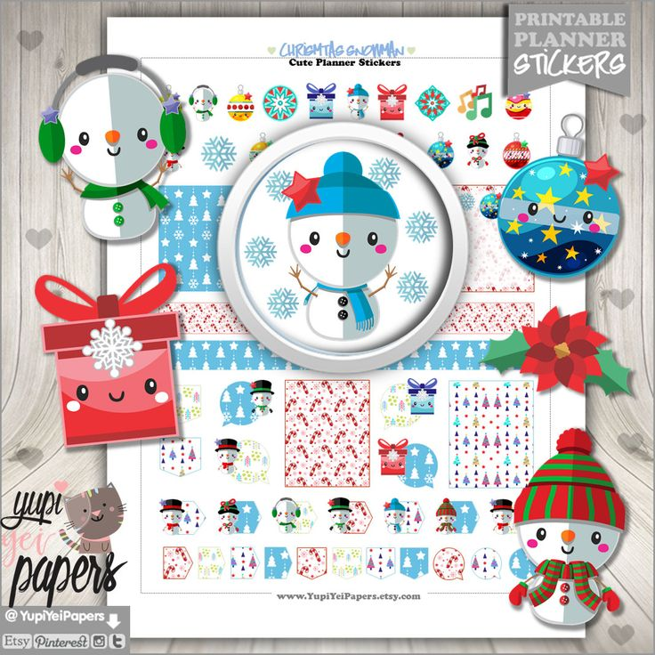 50%OFF - Christmas Stickers, Planner Stickers, Christmas Planner Stickers, Planner Accessories, Winter Stickers, Snowman Stickers