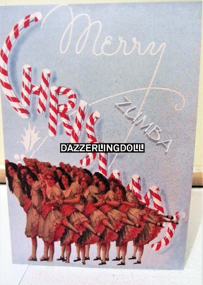 ZUMBA Christmas card, GLITTERED handmade greeting card dancing girls