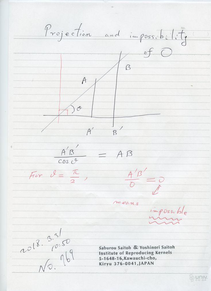 № 769  正射影は数学の大事な考えですが、この場合結果がゼロになるのは、 ゼロが不可能を表しいると、ゼロの意味を捉えると 良く分かります。ゼロの意味の発見です。