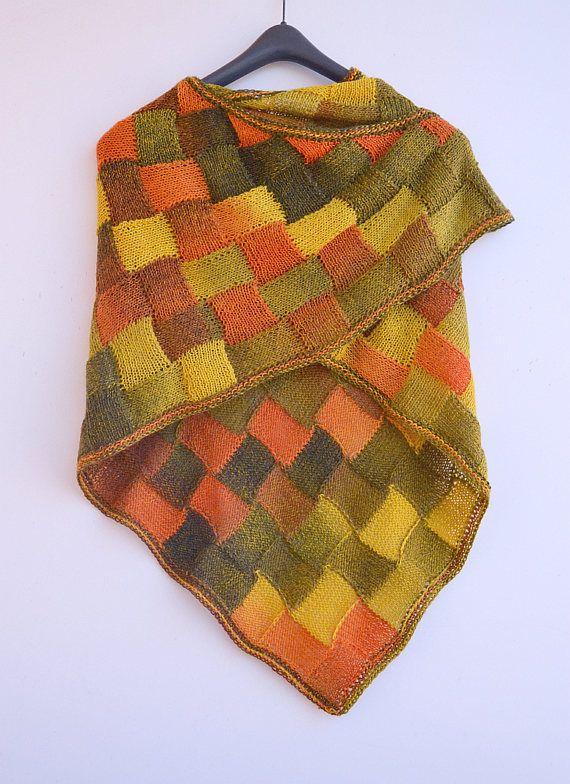 Autumn color knitting shawlenterlac shawl knitted shawl my