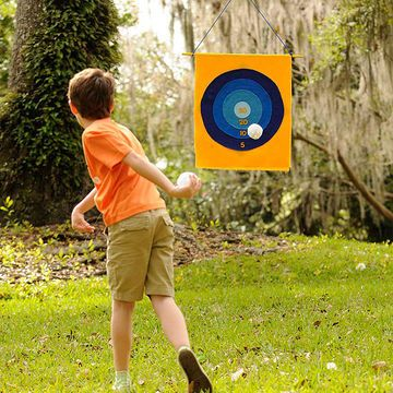 Two-Way Target - Our no-sew felt target offers two ways to play, with a colorful bull's-eye on one side and a baseball pitcher's practice strike zone on the other.