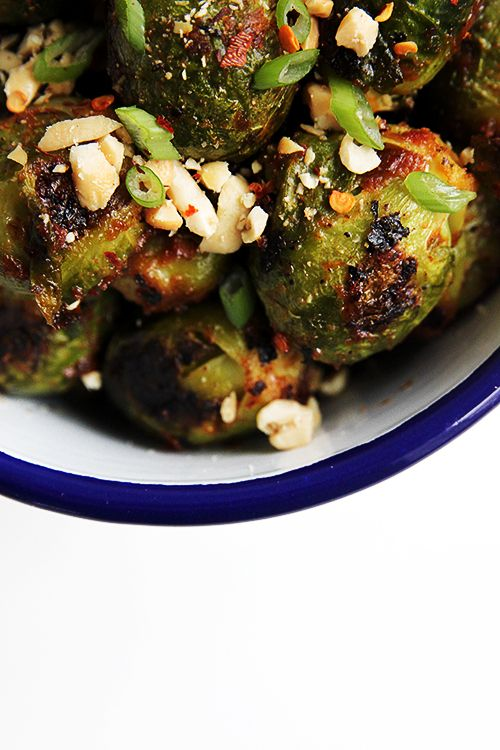 Soft in the middle from a steam, charred on the outside from a roast. Coated in a peanut harissa sauce. I've officially fallen in love with brussels sprouts.