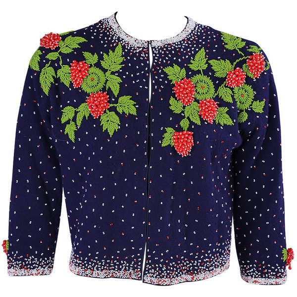 Pre-owned 1950's Beaded Strawberry Motif Cashmere Sweater (33.930 RUB) ❤ liked on Polyvore featuring tops, cardigans, sweaters, cashmere tops, navy tops, navy blue tops, blue top and beaded top