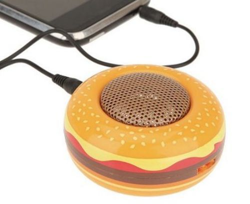 This hamburger speaker has a cute shape that is a burger and it have many colors on it, it seems like a real burger. I think there will be many people (both boys and girls) like it.