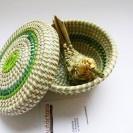 fiber little basket with natural bird