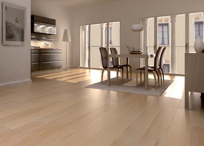 Pavimenti prefiniti in legno oasi - tavolato acero canadese, verniciato.