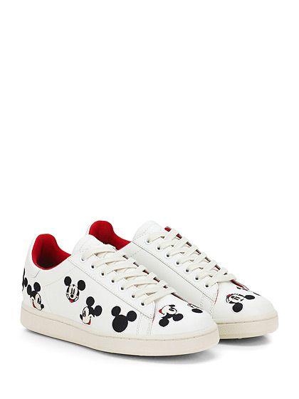 Moa - Sneakers - Donna - Sneaker in pelle con inserti cuciti su tomaia e suola in gomma. Tacco 35, platform 20 con battuta 15. - BIANCO - € 165.00