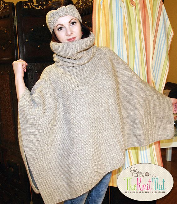 Hand-knitted Turtle Neck, Chunky, Women, Wool Poncho with a FREE turban headband by TheKnitNut