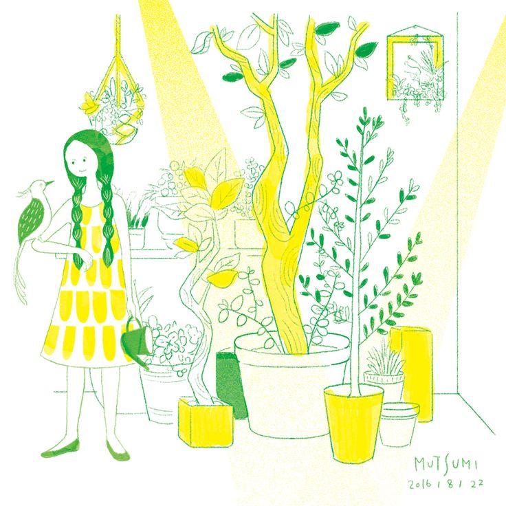 温室育ち。 Green room☘  #らくがき #doodle #イラスト #illustration