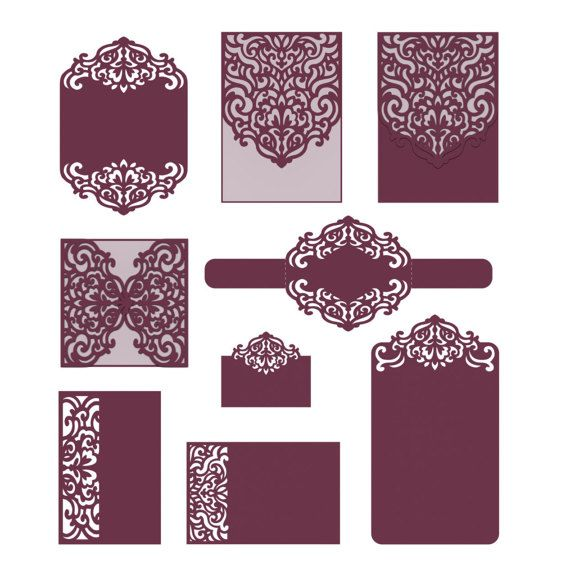 This laser cut SVG invitation card template set was created using my original hand drawn designs. Perfect for Baby Showers, Birthdays, Christening, Weddings, Cardmaking etc. You can resize envelope size as you wish in your cutting software without loosing detail. ----YOU WILL RECEIVE---- 2 ZIP files- 10 file formats ♥ 9 EPS, SVG, CDR, DXF, DWG, AI, PLT (vector formats) ♥ 9 PNG (raster format with transparent background) ♥ 9 PDF (Portable Document Format) ♥ 9 Silhouette Studio Document ...