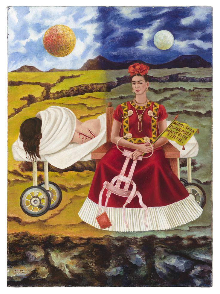 ÁRBOL DE LA ESPERANZA  En esta pintura muestra las dos partes de su vida, representando al día y a la noche como un símbolo de esperanza y lucha. pidiendo a gritos fuerza y paciencia para soportar y resolver sus problemas sin huir de ellos.