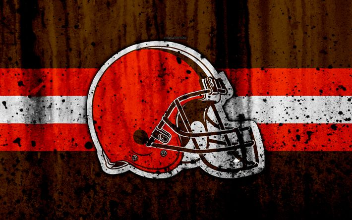 Download wallpapers Cleveland Browns, 4k, NFL, grunge, stone texture, logo, emblem, Cleveland, Ohio, USA, American Football, North Division, American Football Conference, National Football League