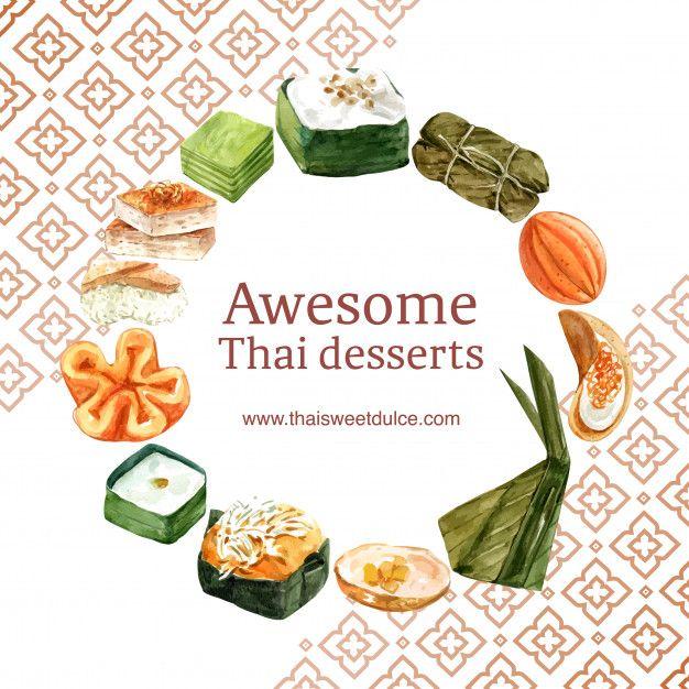 Download Thai Sweet Wreath With Thai Custard Pudding Illustration