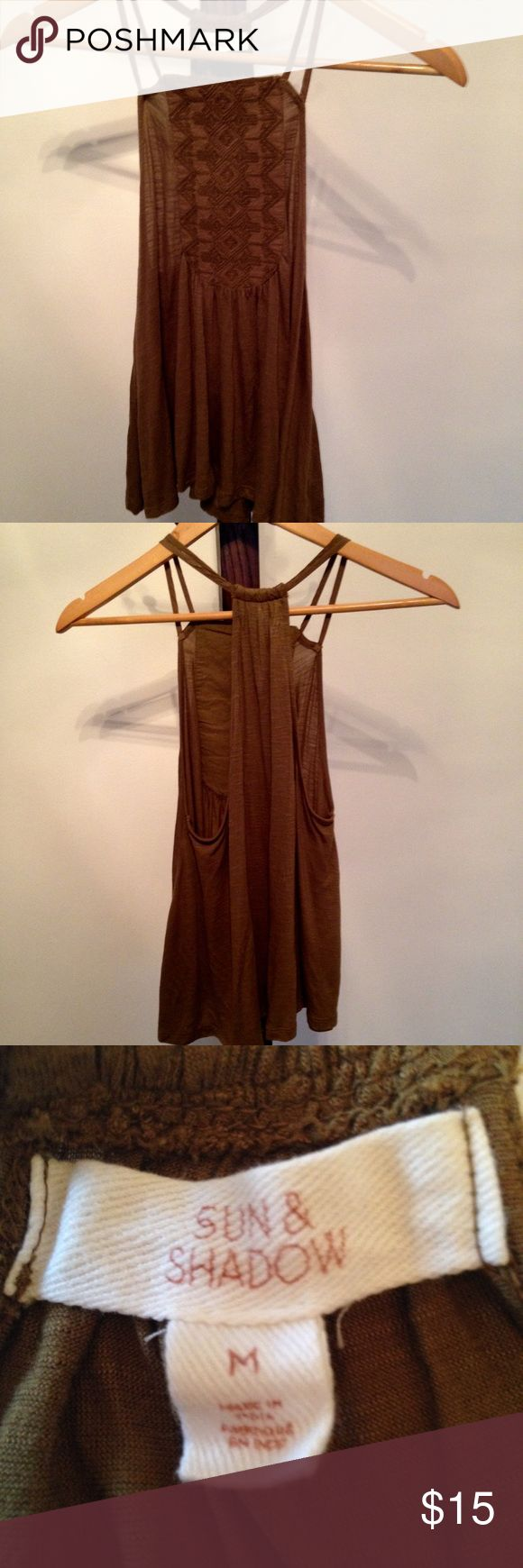Sun and Shadow Brown Tank with Smocking Detail Sun and Shadow Brown Tank with Smocking Detail Sun and Shadow (Nordstrom) Tops Tank Tops