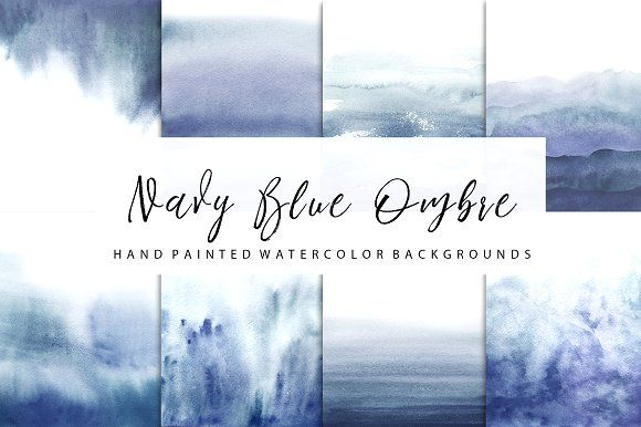 Navy Blue ombre watercolor by GraphicRain on @creativemarket