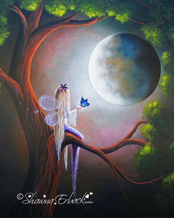 ART PRINT Fairy with Butterfly Up in tree by shawnaerback on Etsy, $10.00