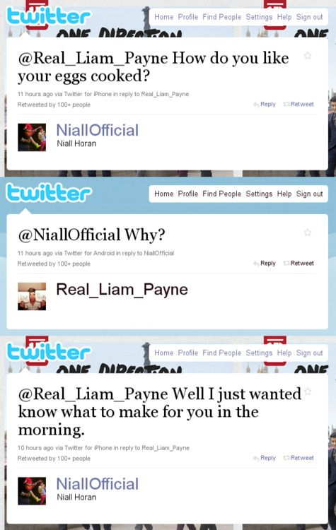 Day 7 of 1D 30 Day Challenge: Favorite One Direction tweet: this is my fave because it's a little niam lovin'