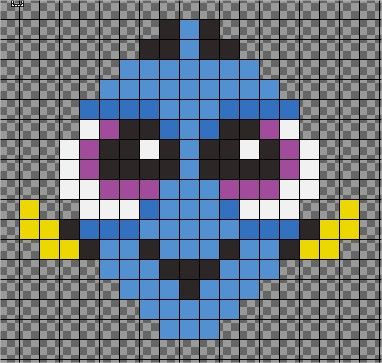 My first pixel art bead pattern. Dory as a baby. Inspired by https://www.youtube.com/watch?v=JbYC3rhDYKQ
