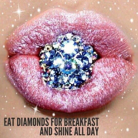 Eat diamonds for brekkie ..and shine all day! #sparkle #sparkly #bling #diamonds #kisses #love #brekkie #breakfast #lipstick #makeup #glam #fab #cute #stunning #instalike #instadaily #instagood #instamood #instacool #instalove
