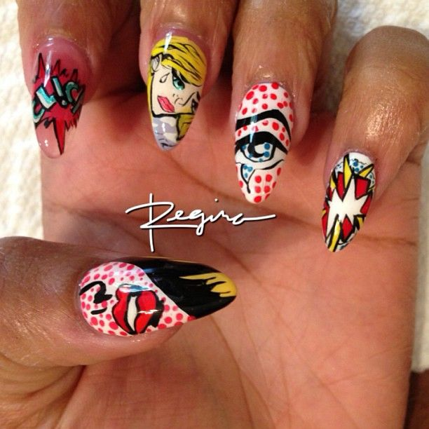 16 best pop art images on pinterest books comic con and costumes roy lichtenstein pop art nails prinsesfo Choice Image