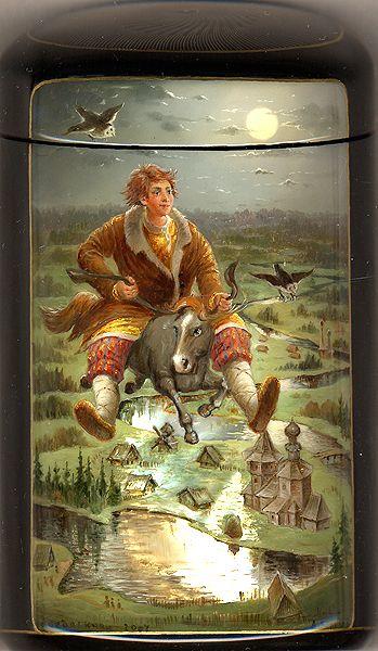 Fedoskino: Borisov Andrey -Tale of Little Hump-backed horse