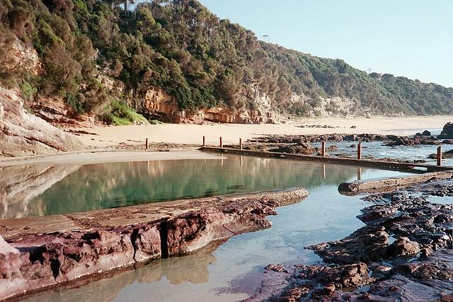 Rock pool at Aslings Beach, NSW, Australia