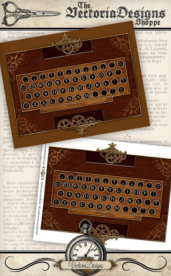 Steampunk Keyboard Printable - typewriter key stickers for your own keyboard - instant download by VectoriaDesigns
