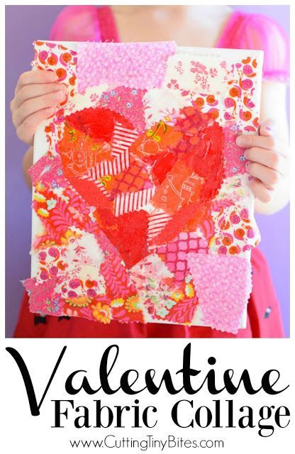 valentines day fabric collage use fabric scraps in shades of pink red and - Kindergarten Valentine Ideas