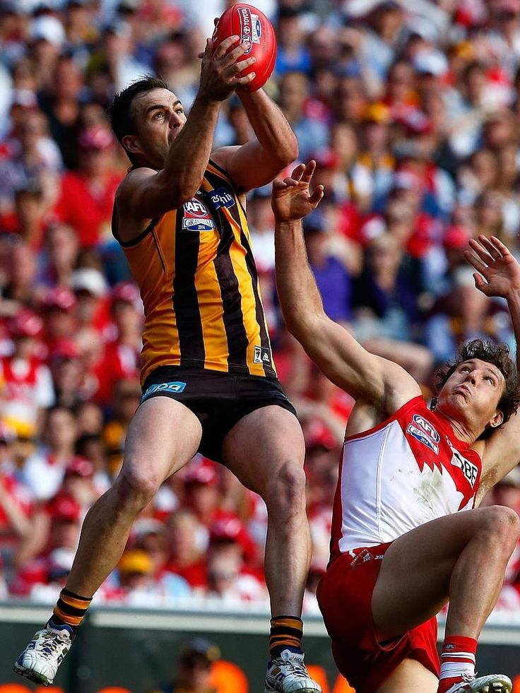 Hot Shots: Hodge's premiership heroes | Herald Sun | STEP LADDER (2): Brian Lake takes the mark over Sydney Swans' Kurt Tippett after a big leap. Picture: Wayne Ludbey