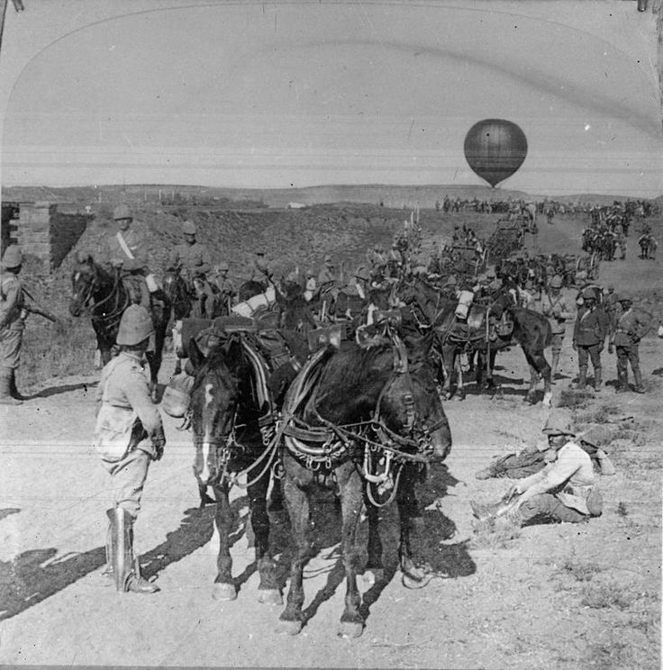 This is a rare picture of a Military Balloon unit (the first I have ever seen) . Military reconnaissance balloon with an escort. It took four carts to carry the gas tubes and one to carry the equipment, each cart was drawn by four horses. Two extra carts carried the baggage.