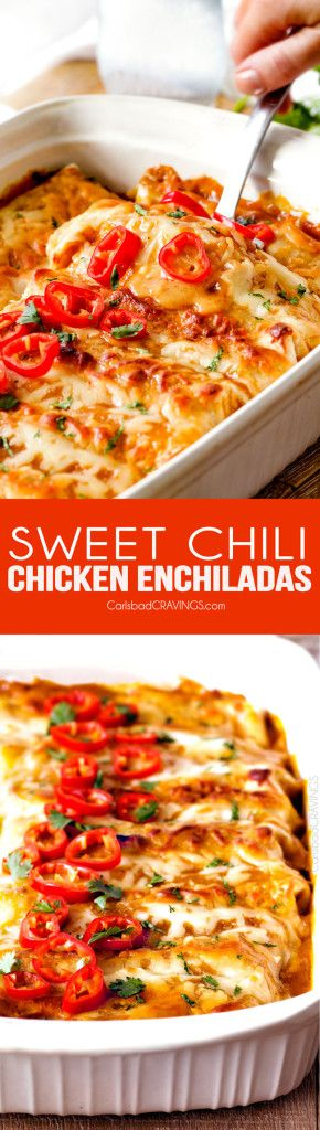 Slow Cooker: Sweet Chili Chicken Enchiladas - Carlsbad Cravings...