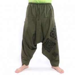 Harem pants Floral Design Print – olive green – ARY-M2