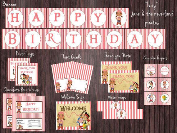 Izzy Jake and the Neverland Pirates Birthday Party Package - Non Personalized - Instant Download, Jake party package, neverland