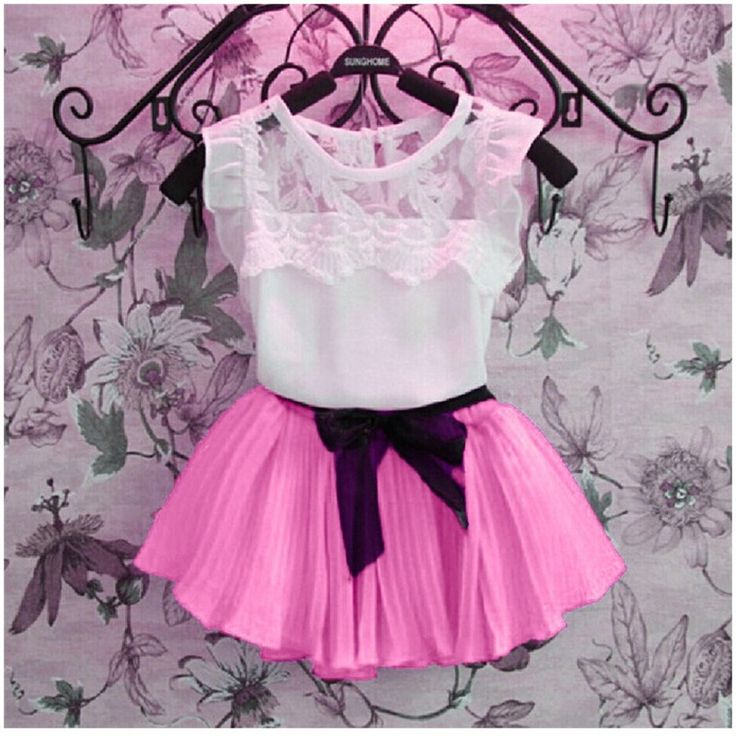 Retail 2017 New Children Girls clothing set Summer costume baby kids child lace clothes sets suits retail free shipping