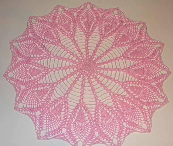 Pink Pineapple Doily With Frosted Edging  ready by MirandaCrochet