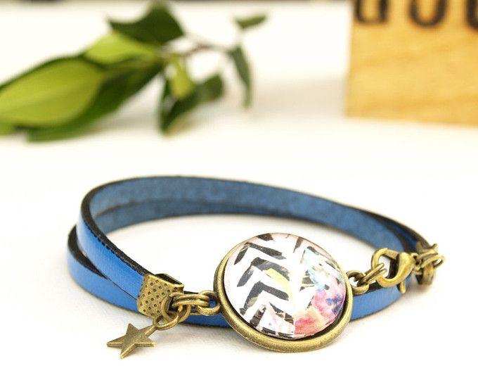 Leder Armband blau elektrisch, Größe verstellbar, UNIQUE Kobalt Blau Rockabilly Cabochon Armband