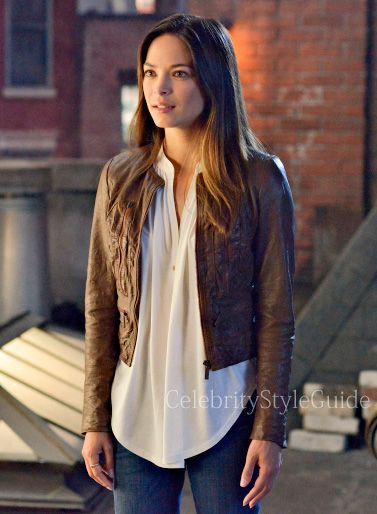 Seen on Celebrity Style Guide: Beauty and the Beast Fashion: Kristin Kreuk, as Catherine Chandler, wears the Michael Kors Distressed Leather Jacket Beauty and the Beast Season 2 Episode 2 'Kidnapped'