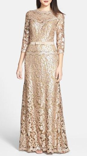Tadashi Shoji Belted Sequin Lace Gown