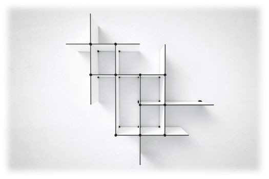 Four sets of Up The Wall shelves // available in black and white. #shelves #shelving #reol #hylder