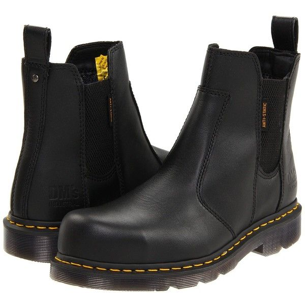 Dr. Martens Fusion ST (Black Industrial Full Grain) Boots ($91) ❤ liked on Polyvore featuring shoes, boots, black, safety toe work boots, steel toe cap boots, steel toe caps, black steel toe shoes and black shoes