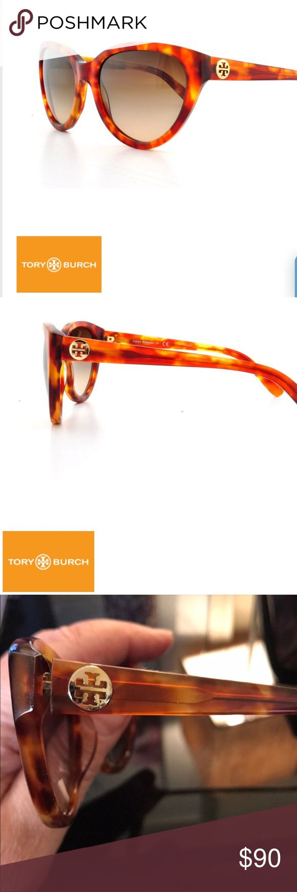 Tory Burch honey tortoise cat eye sunglasses Tory Burch honey tortoise cat eye sunglasses Cute and on trend cat eye sunglasses, smaller frame with gold logo detail on arm band! Frames fit wide.   BRAND: Tory Burch MODEL: TY7045 COLOR: 503/13 Honey Tortois