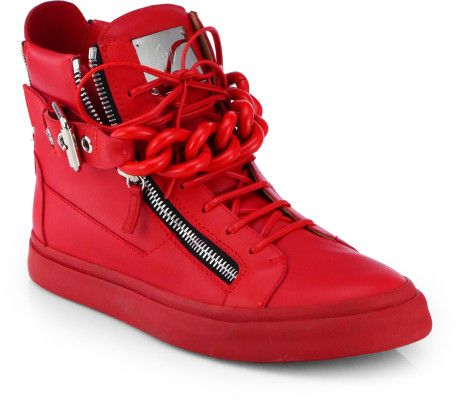 Giuseppe Zanotti Sneakers double chain | Giuseppe Zanotti Tonal Chain Sneakers in Red for Men - Lyst
