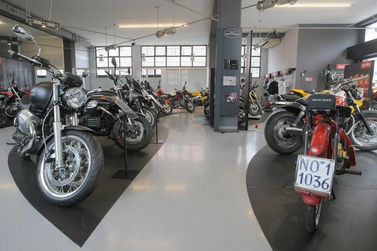 Moto Guzzi line up in the new Pogliani Dealer Store #Moto #Guzzi #motoguzzi #motorbike #motorcycle #dealer #store