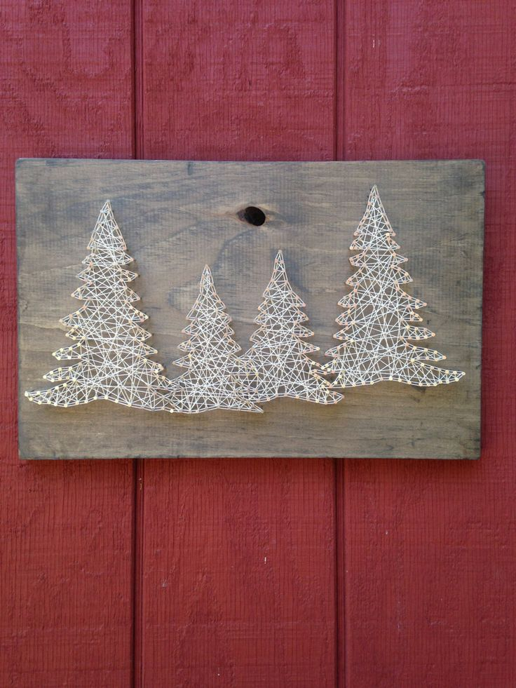 This four tree string art is hand strung with string on weathered wooden rough cut boards. The dimensions are approximately 11 by 18 inches. Due to the nature of the wood, each piece is unique and may vary from what you see in the picture but we feel that this makes each order a real one of a kind. Please note that these boards will NOT come with a hole in the board (the example photo includes a board with a hole in it). These boards are great gift ideas for birthday, weddings…