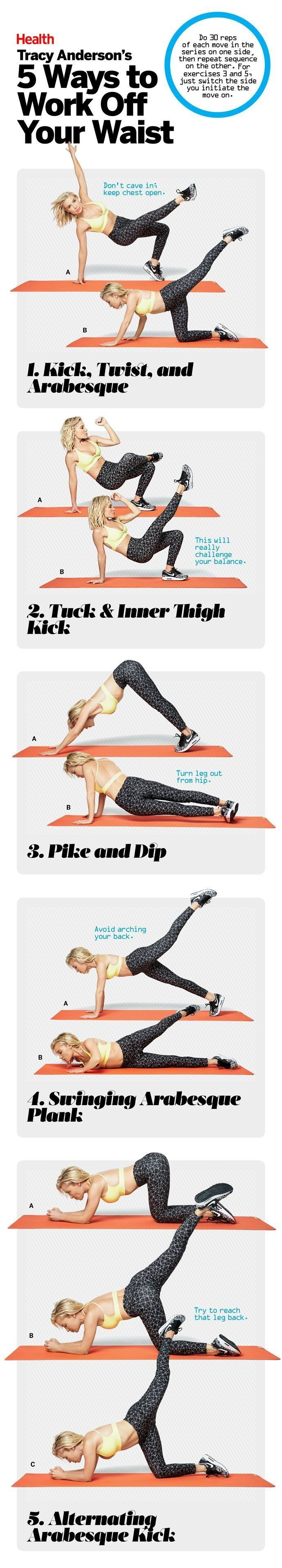 Because Tracy Anderson knows best. Here are 5 of the star trainer's fave exercises to work off your waist. | Find more relevant stuff: victoriajohnson.wordpress.com