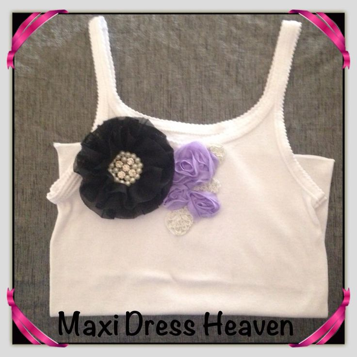 Girl's Cotton Singlet with floral embellishment with sizing from 1-2 to 9-10. Also available in long sleeve design. Available to pre-order from www.maxidressheaven.com. #girl #clothing #handmade #singlet