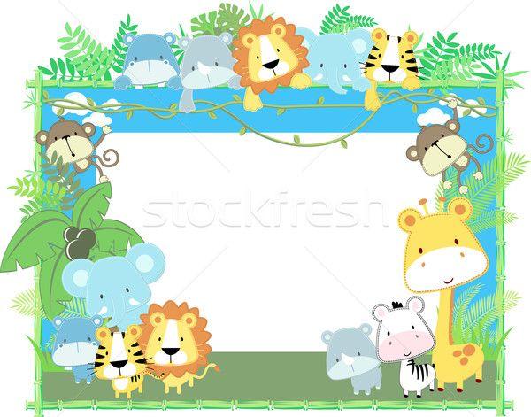 Stock fotó: Szafari · barátok · háttér · aranyos · dzsungel · baba